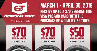 General Tire - Up to $70 Tire Rebate